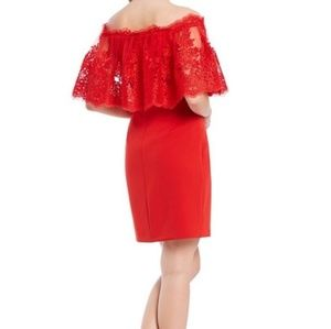 Badgley Mischka RED Lace Off Shoulder Dress NEW